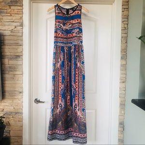 Aqua Print Maxi Dress